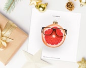 "Printable Christmas Card ""Tanti Agrumi"" Grapefruit - Instant Download - Simple Holiday Greetings 12x12cm"