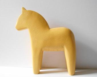 """Large vintage Dala horse, 10.5 """", yellow wood Swedish horse"""
