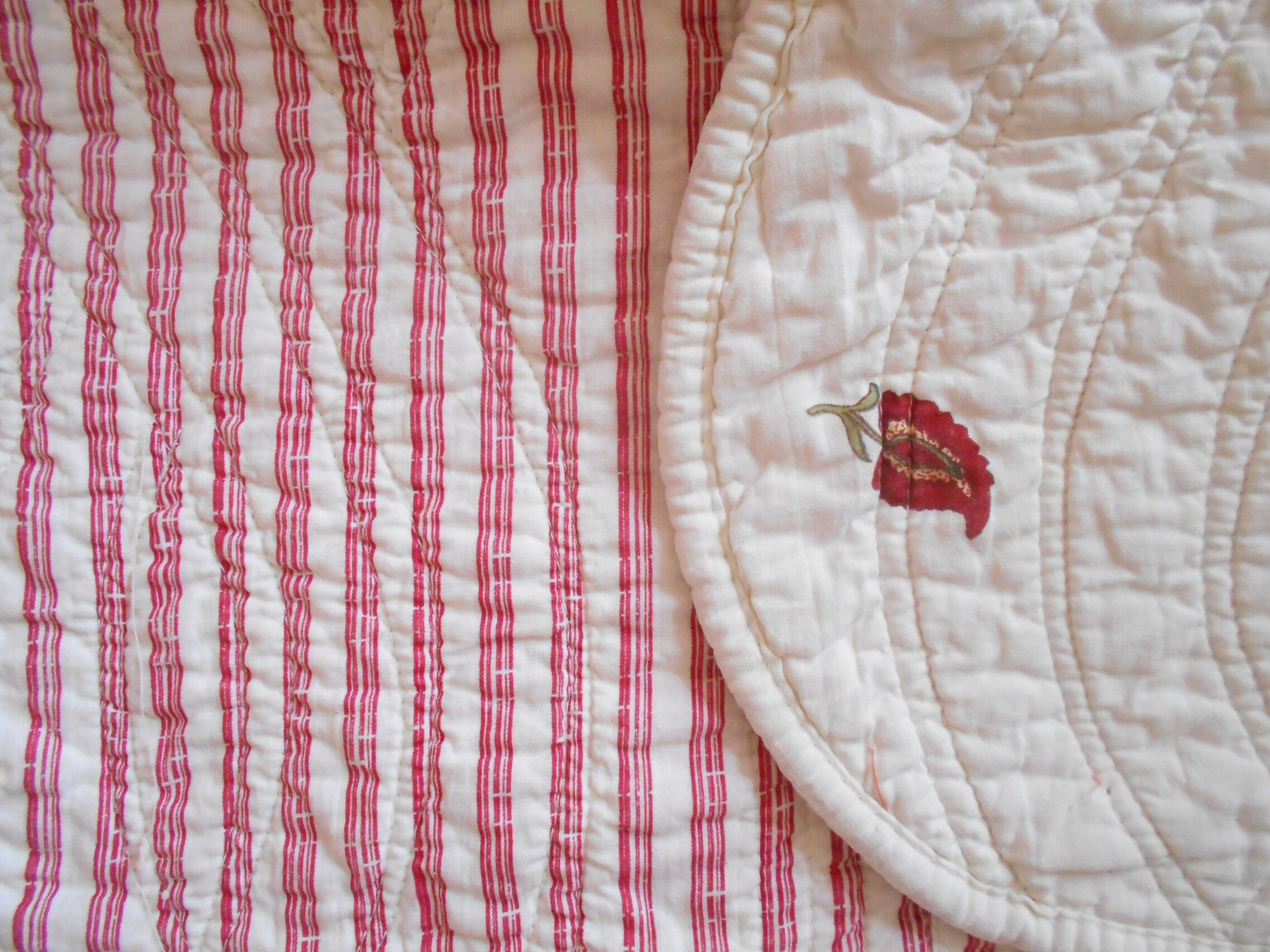 French vintage quilt, floral and stripes boutis, square bedspread or throw, coverlet