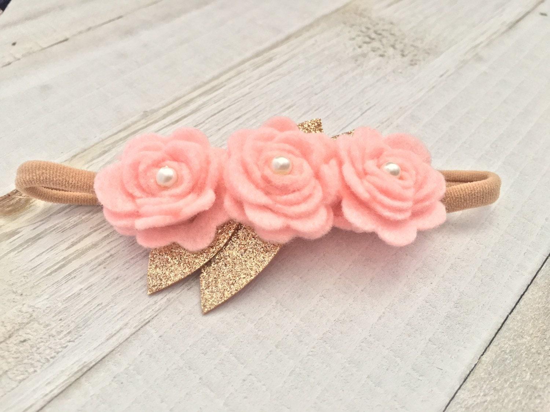 Dark Pink Flower Headband Autumn Flower Headband Clip Rose Pink Wool Felt Baby Headband Clip Rose Pink Gold Felt Fl Fall Flower Headband