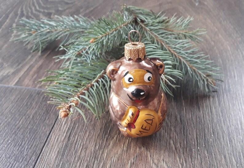Christmas Gift, Blown Glass Christmas,Christmas glass ornaments Christmas tree glass ornament Bear with Honey Christmas glass ornaments