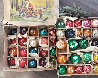 RARE! Vintage Antique 1970's German Reflector Deep Star Indent Christmas Tree Ornaments Reflector Baubles Christmas glass