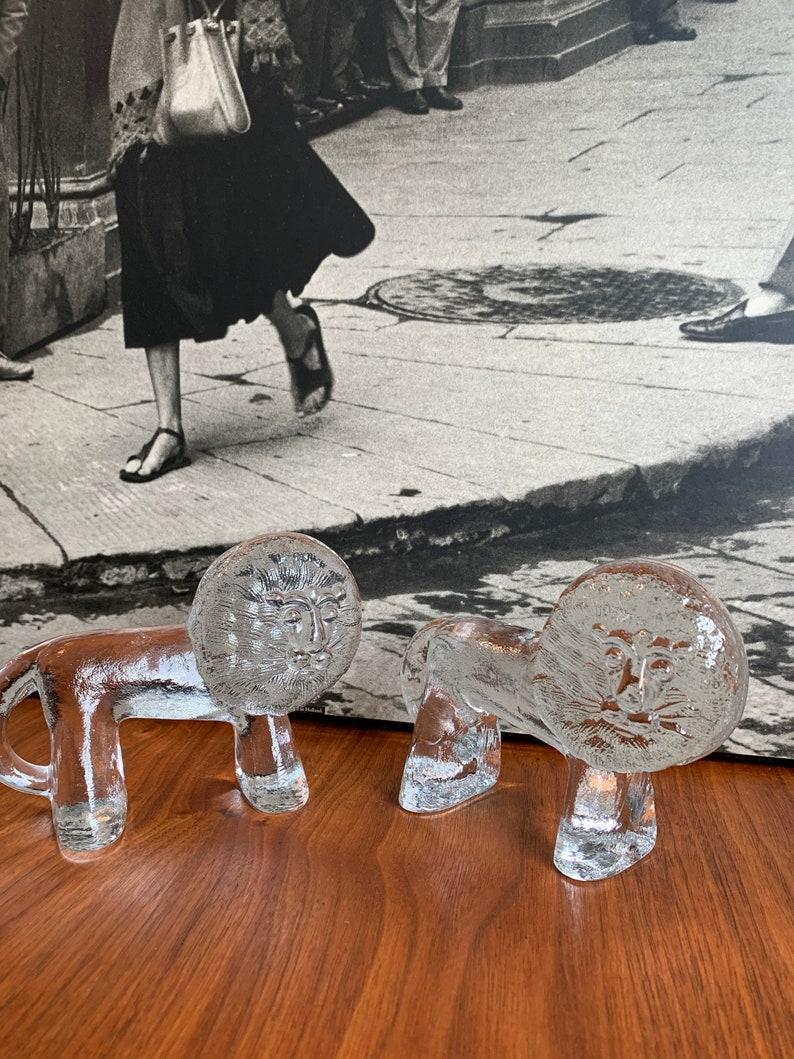 kosta boda lion mid century modern art glass vintage danish home decor retro paper weight boho chic living room decor mad men glass figurine