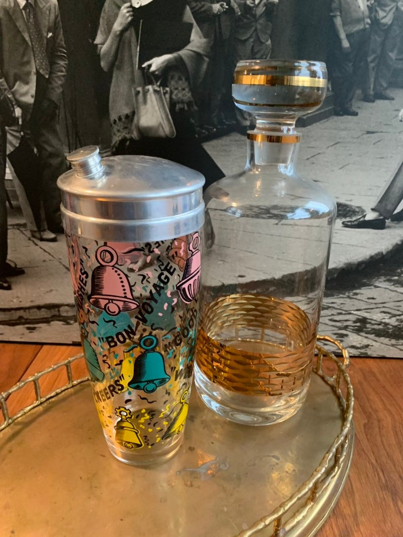 gold decanter mid century modern drinks mixer gold glass cocktail shaker glass bottle,retro glassware, mad men bar cart boho chic