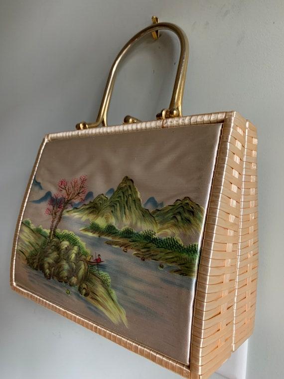 Box purse, box handbag, basket, basket weave bag,