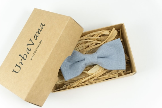 Dusty blue linen pre-tied wedding bow ties for groomsmen or toddler boys bow tie
