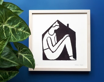 Minimalist illustration on paper for wall decoration, Woman confined to the house