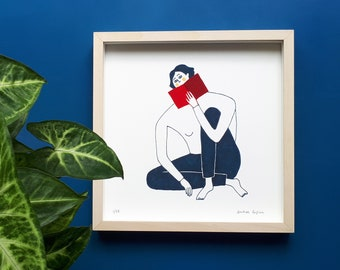 Illustration on paper for wall decoration, limited series Women and book