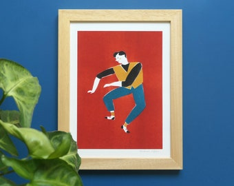 Art print illustration Man who dances on a red background