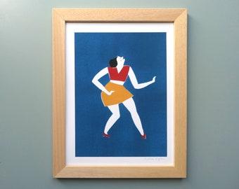 Art print illustration Woman dancing on blue background