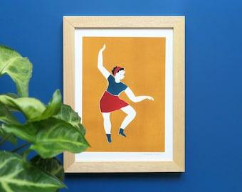 Art print illustration Woman dancing on yellow background