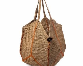 Raffia bag, straw bag, city bag, summer bag, handmade bag, black bag, natural raffia bag, hand-hooked bag, chic boho bag