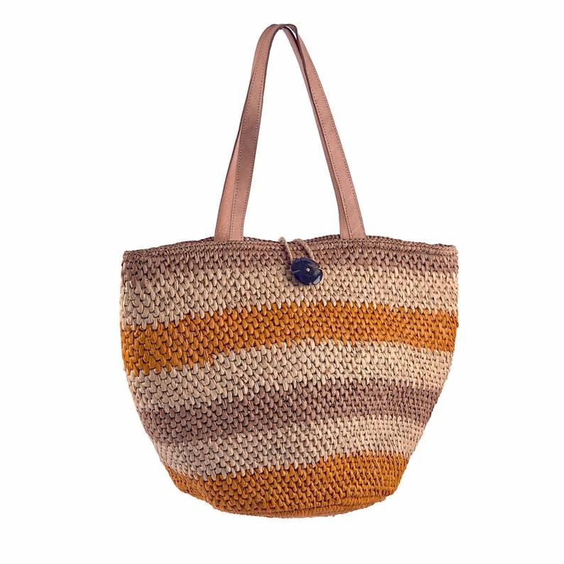 Raffia bag handmade bag city basket handmade bag Naturel/orange