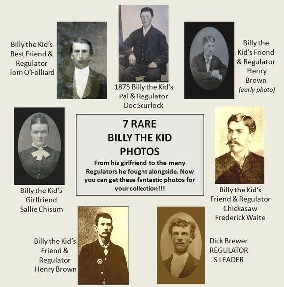 Cool Lot of Billy the Kid PHOTOS Regulators Gang, Girlfriend Pals, 7 PHOTO LOT William Bonney 4x6 Pics