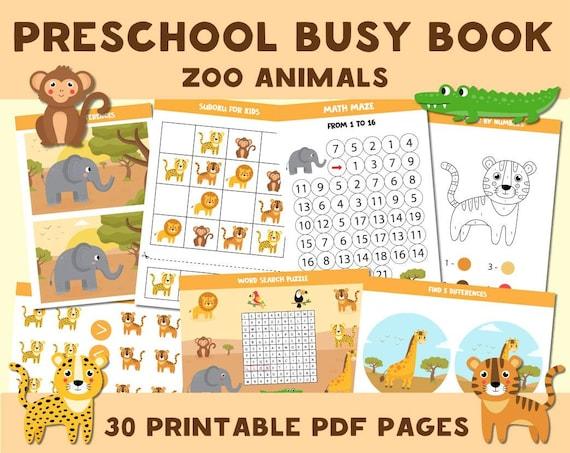 Printable Busy Book Zoo Animals Worksheets Preschool