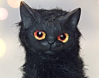 Witch cat Black angry realistic  cat plush movable New Year present cat realistic plush kitten Halogen cat