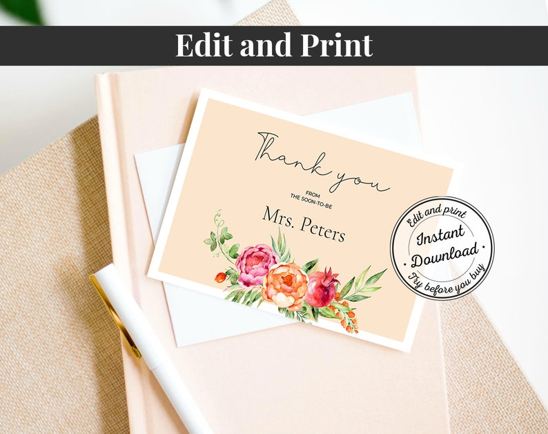 Floral Bridal Shower Thank You Card Template \u2022 INSTANT DOWNLOAD \u2022 Watercolor Flowers /& Leaves Printable Bridal Shower Editable Template
