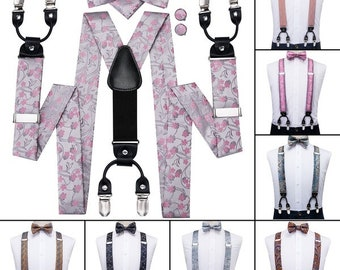 Light Blue Mens Suspenders Bow Tie Set Adjustable Womens Man Elastic Fancy Dress