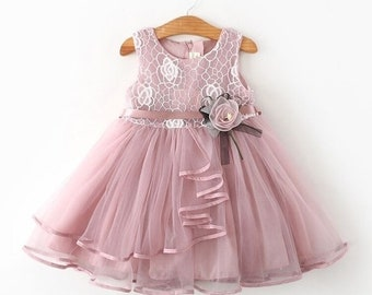 Summer Girls Pink Sleeveless Pageant Princess Party Dress Ruffles Tutu Dresses with Flower for 1-6 Years