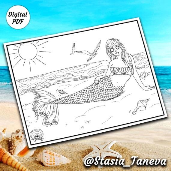 Printable Colouring Page Mermaid Colouring Mermaid Etsy