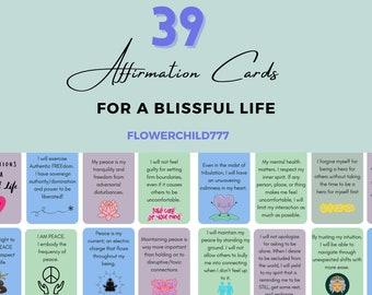 Printable Affirmation Cards  - Affirmations for Daily Peace of Mind - Positive Affirmation Cards - PrintableAffirm Abraham H - Self Healing