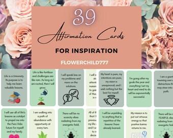 Motivational Printable Affirmation Deck - Printable Affirmation Cards - Daily Affirmation Cards- Positive Affirmation Cards - Anxiety Cards