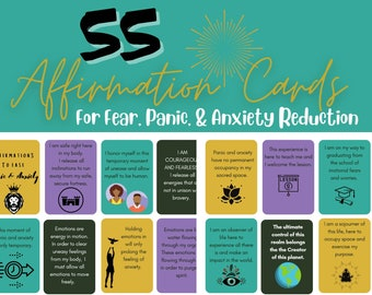 Downloadable Affirmation Cards for Panic Attack & Anxiety - Anxiety Printable - Anxiety Disorder - Chronic Anxiety - Words of Affirmation