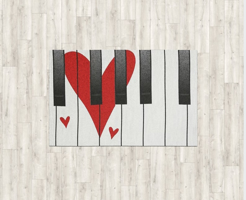 Piano Red Heart Shape Valentine Floor Decor Valentine/'s Day Gift Custom Size and Pattern Luxury Carpet Valentine/'s Decorations