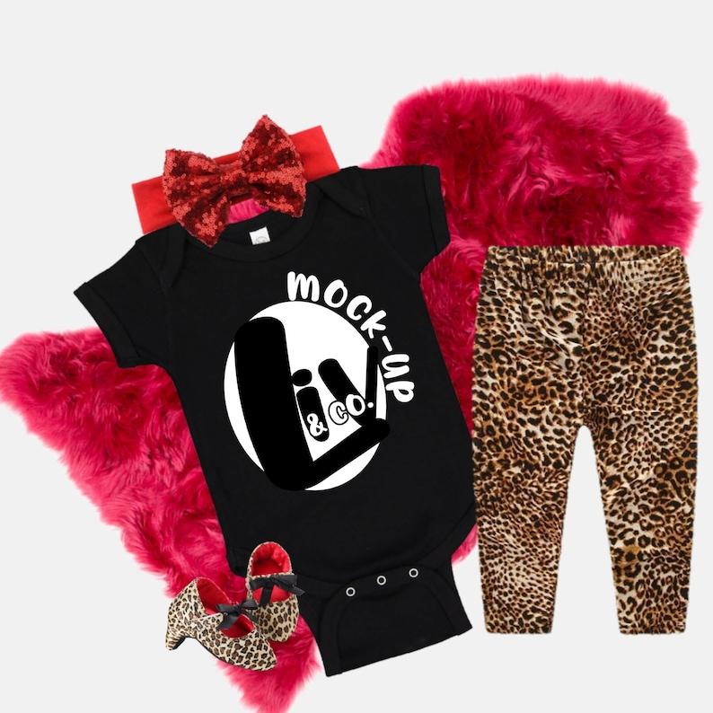 Mockup Baby Bodysuit Rabbit Skins Black Baby Mock Up Styled image 0