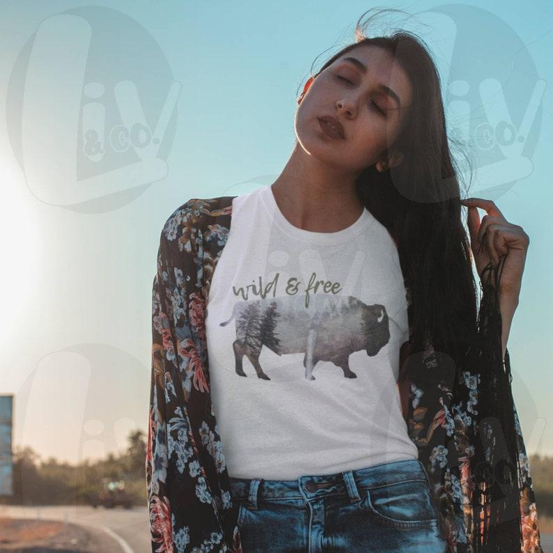 Wild and Free Bison Print Printable SVG  PNG Design Buffalo image 0