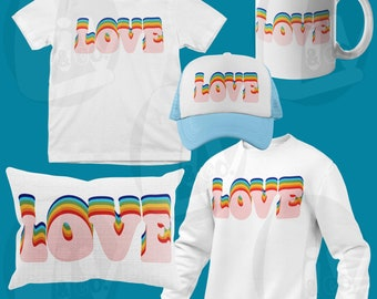 Retro Rainbow Love SVG PNG Valentines Day Shirt Svg Decals Pride Svg Design Cut Files Sublimation DTG Heat Transfer Liv & Co. Consulting
