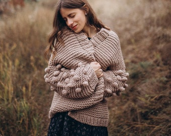 Women knit cardigan, Oversized beige cardigan, Cozy chunky knit, Fall apparel, Gift for her