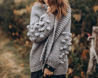 Chunky knit cardigan with bubble sleeve, Oversized gray cardigan, Women gray sweater, Fall apparel, Gift for her
