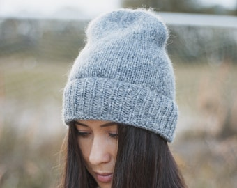 Slouchy beanie hat, Hand knit hat, Alpaca knit beanie, Cozy knit hat, Gray knit beanie