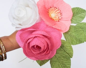 """crepe paper camellia, wild rose, and classic rose bouquet - """"brights and whites"""" w/ three stems - handcrafted paper flowers"""