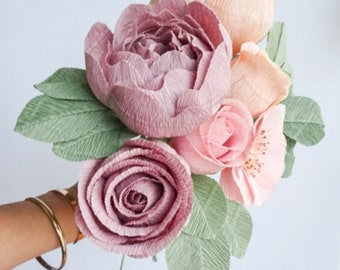 """crepe paper peony, wild rose, classic rose, and mini classic rose bouquet - """"desert dusk"""" w/ six stems - handcrafted paper flowers"""