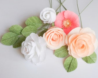 """crepe paper camellia, wild rose, and classic rose bouquet - """"melon mingle"""" w/ five stems - handcrafted paper flowers"""
