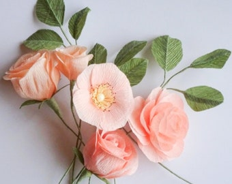 """crepe paper camellia, wild rose, classic rose, and lisianthus bouquet - """"pretty in peach"""" w/ five stems - handcrafted paper flowers"""