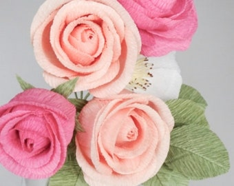 """crepe paper camellia, wild rose and classic rose bouquet - """"rainbow row"""" w/ five stems - handcrafted paper flowers"""