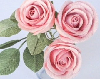 crepe paper classic rose bouquet w/ three stems in dusty rose- handcrafted paper flowers