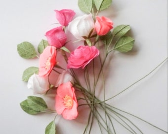 """crepe paper camellia, wild rose, classic rose, and lisianthus - """"brights and whites"""" w/ nine stems - handcrafted paper flowers"""