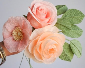 """crepe paper camellia, wild rose, and classic rose bouquet - """"pretty in peach"""" w/ three stems - handcrafted paper flowers"""