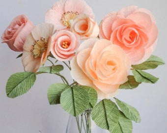"""crepe paper camellia, wild rose, classic rose, and lisianthus - """"pretty in peach"""" w/ seven stems - handcrafted paper flowers"""