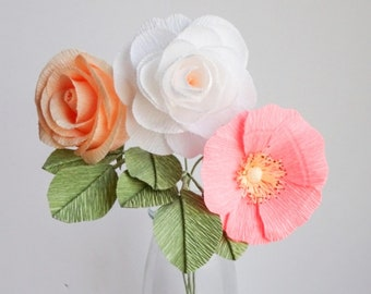 """crepe paper camellia, wild rose, and classic rose bouquet - """"melon mingle"""" w/ three stems - handcrafted paper flowers"""