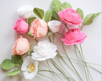 """crepe paper camellia, wild rose, classic rose, and lisianthus bouquet - """"rainbow row"""" w/ nine stems - handcrafted paper flowers"""