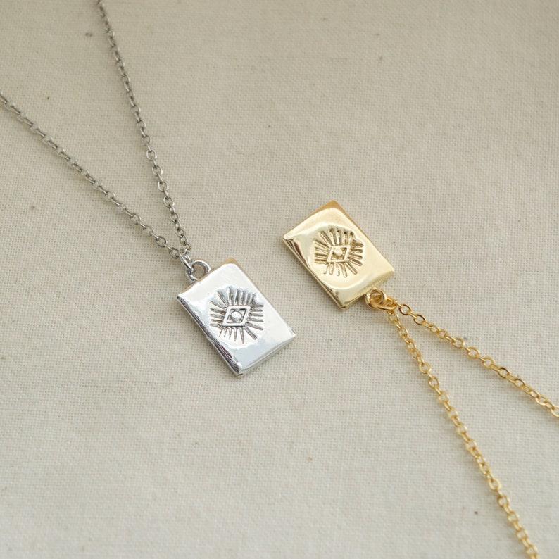 Kazari Evil Eye Necklace Gold Plated Brass Necklace Medallion Necklace