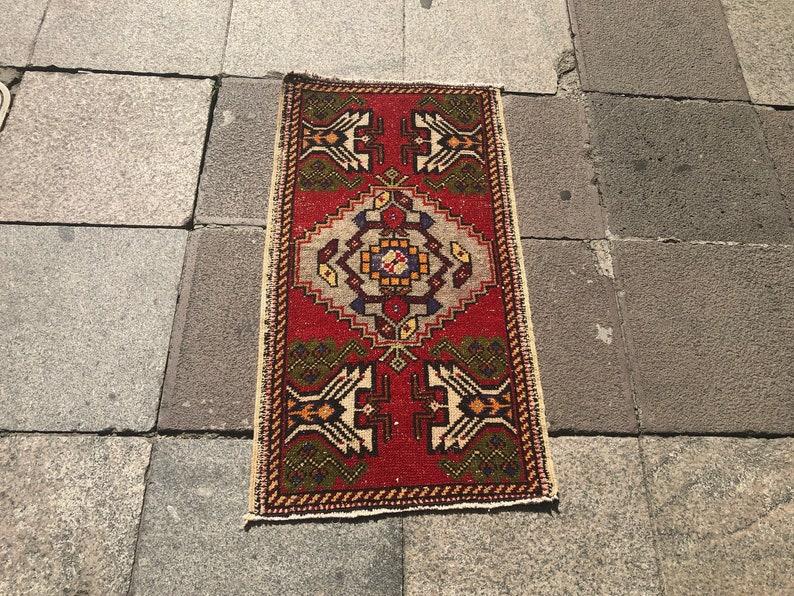 Anatolian Design Rug Vintage Door Mat Rug Turkish Handmade Turkish Rug Faded Oushak Rug Antique Design Small Wool Rug 3.1 x 1.6 feet