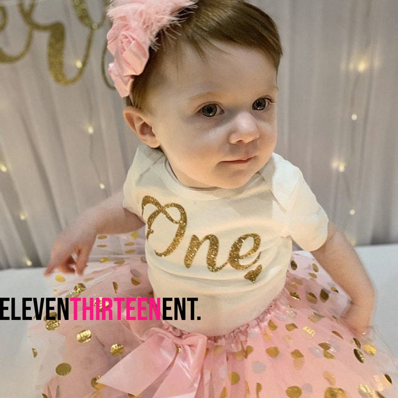 1 Year Old Girl Birthday Outfit Pink and Gold Glitter One First Birthday Shirt Birthday Party Outfit 1st Birthday Girl Outfit Pink