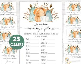 Baby Shower Games,Pumpkin Baby Shower Game Bundle,Game Package,Fall Baby Shower,Autumn Baby Shower Activity Bundle