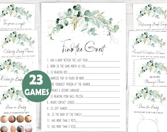 Eucalyptus Baby Shower Game,Greenery Baby Shower Game Bundle,23 Baby Shower Games Included,Printable Game Package,Instant download